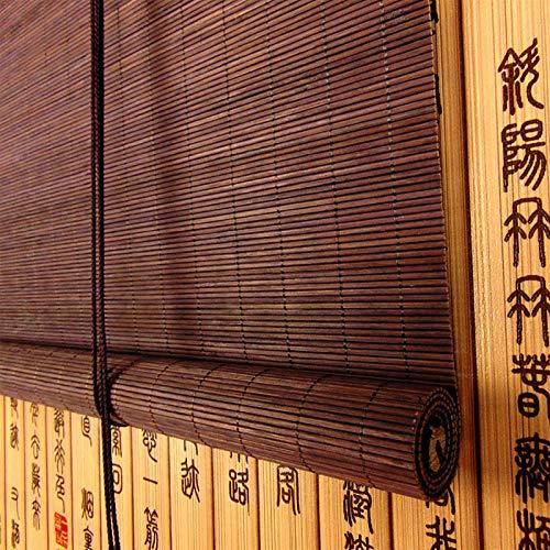 Persianas enrollables y estores Sombrillas De Rodillos De Filtrado De Luz De Jardín Al Aire Libre con Cenefa De 6 Pulgadas, Vinilo De Estilo Rústico Pegamento Natural De Bambú Natural, 60% Anti-UV Sun