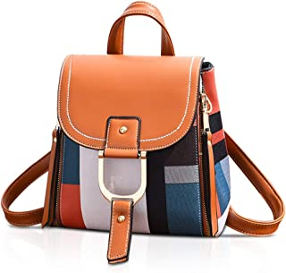 NICOLE&DORIS Damen Rucksack Kleiner Rucksack Umhängetasche Handtaschen Rucksack für Damen Leder Rucksack Schultertasche Orange