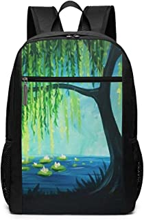 Laptop Backpack Weeping Willow Tree 17 Inch Travel Gaming Bag Computer Backpack School Travel Backpack Casual Daypack