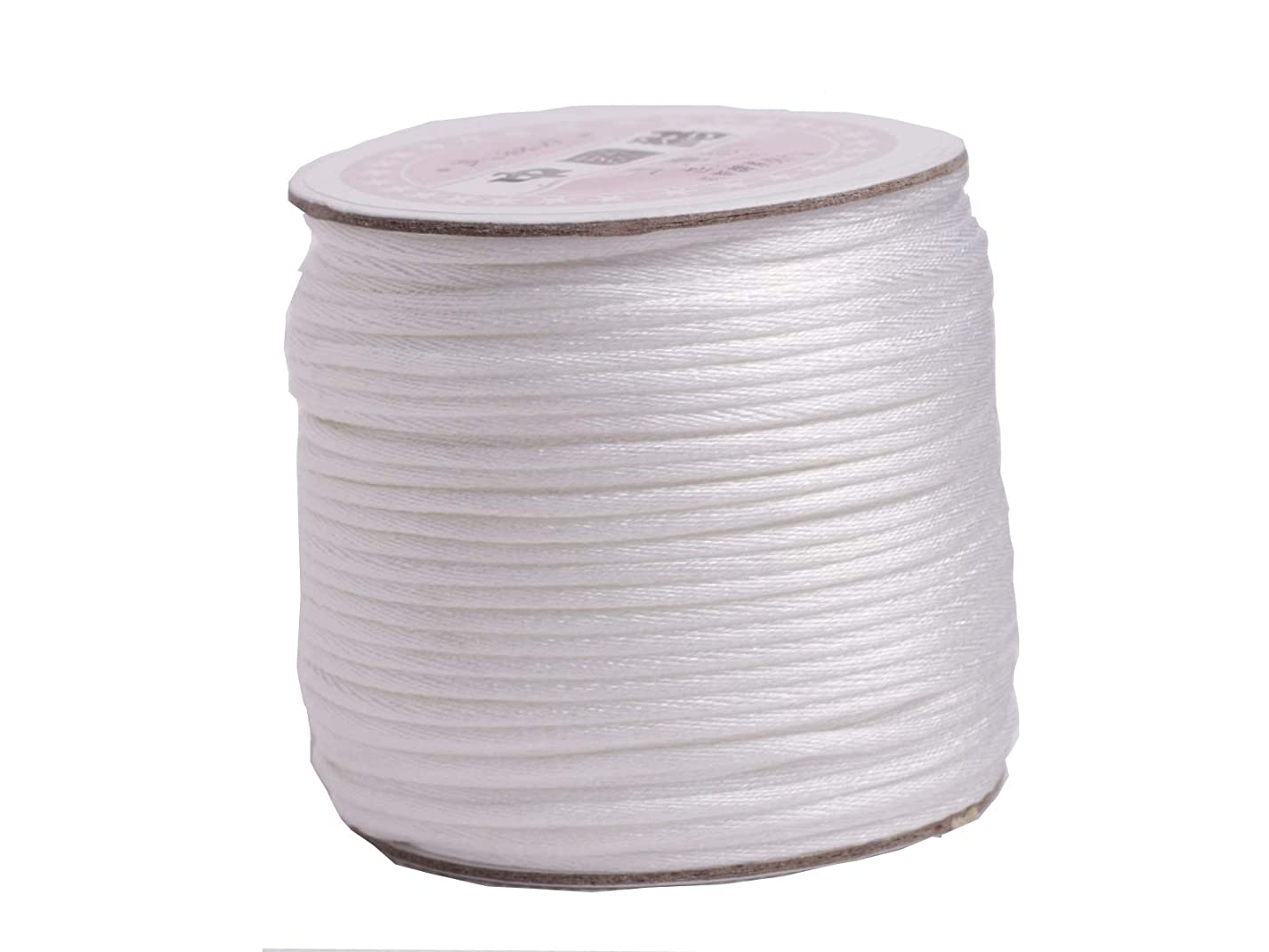 U PICK Wholesale Multi-colors 2 Roll 100 Yards 2.0mm Rattail Satin Silk Cord Chinese Knot Beading Cord (02 White) fcy495317640962