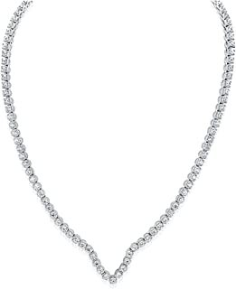 Montage Jewelry Women's Sterling Silver & Cubic Zirconia V-Shape Tennis Bridal Necklace