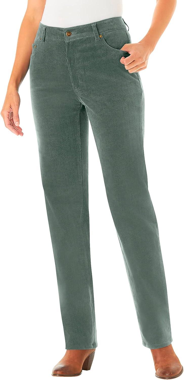 Woman Within Women's Plus Size Petite Corduroy Straight Leg Stretch Pant