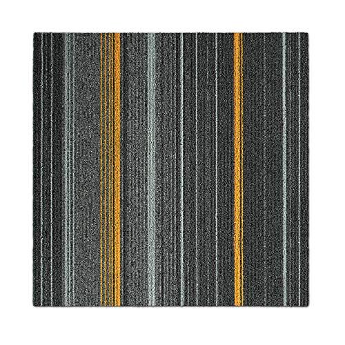 Design Teppichfliesen Paris 50x50 cm selbstliegend - strapazierfähiger Teppich Bodenbelag mit hochwertigem Schlingenflor - antistatisch mit Bitumen Rücken (Anthrazit-Ocker, 1 Stück)