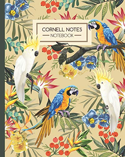 Cornell Notes Notebook: Tropical Parrots Macaws & Cockatoos Drawing - Journal Note Taking System - Gift Idea for School Students College University (8'x10' 120 Pages)