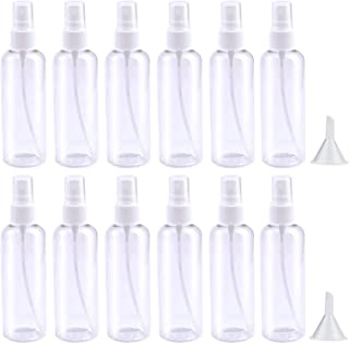 DIAOSnx 12 Pack 100ml/3.4oz Clear Spray Bottles Plastic Fine Mist Spray Bottle Container Refillable Makeup Cosmetic Atomizers with 2pcs Funnels