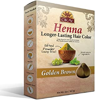OKAY Longer Lasting Henna Color, Golden Brown, 2 Ounce