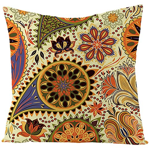 KnSam 16x16 inch Thanksgiving Pillow Covers, Linen Square Case Floral Pattern, Bed or Sofa Pillows Case, with Hidden Zipper, Yellow Orange, 40x40cm, Style 14 (1pc, No Filler)