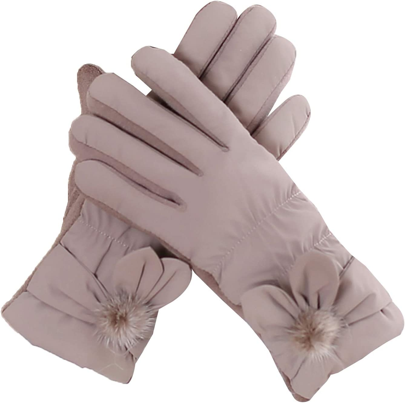 Gloves Down Cotton Winter Gloves, Plus Velvet Thickened Cold and Warm Touch Screen Gloves, for Ladies (Color : Khaki)