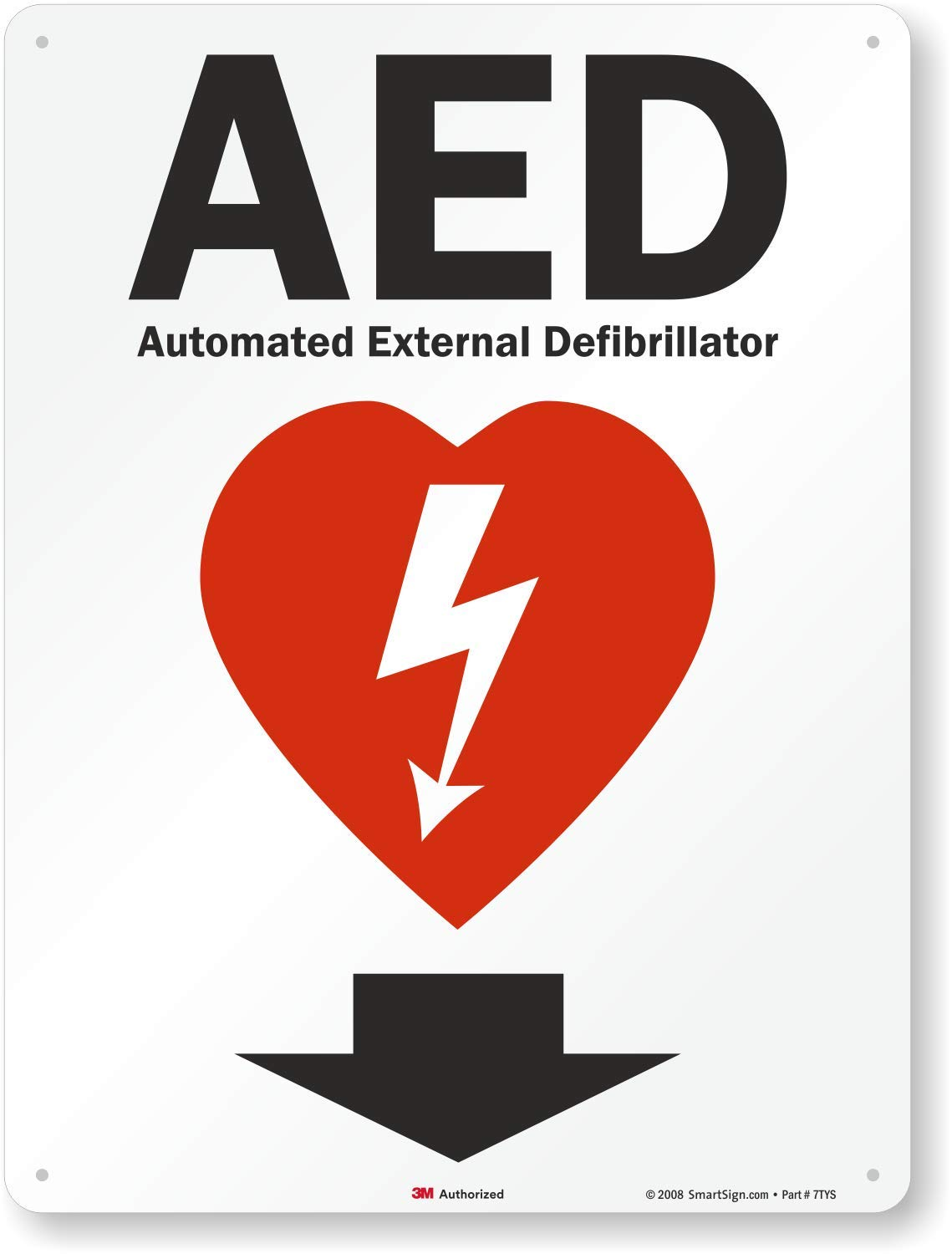 Amazon Com Smartsign Aed Automated External Defibrillator Sign With Down Arrow 18 X 24 3m High Intensity Grade Reflective Aluminum Health Household