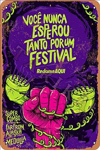 OSONA Voce Nunca Esperou Tanto Por Um festival återkallelse aqua retro look metall 20 x 30 cm dekoration hantverk skylt för hem kök badrum gård trädgård garage inspirerande citat väggdekor