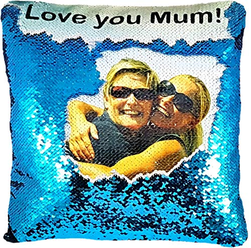 Personalised Sequin Cushion Cover Magic Reveal Printed Photo Gift Custom Made SEQUIN + FREE FILLING (SKY/WHITE)