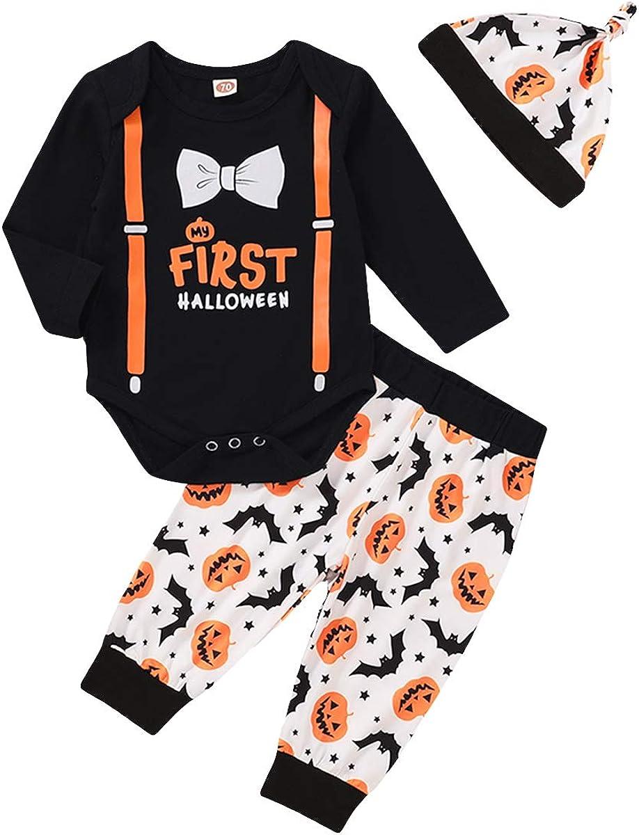 3Pcs Newborn Baby Girl Boy My First Thanksgiving/Chrismas Outfits Turkey Print Romper Festival Clothes Set (Halloween-1, 12-18 Months)