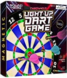 LIGHT-UP Magnetic Dart Board Game - Innovative Illuminated Kids Safe Dartboard Set with Glow-in-the-Dark Darts...