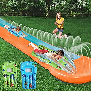HOOLRO Water Slip and Slide for Kids and Adults with Surfboards 16 Foot Outdoor Water Toys Backyard Garden Racing Lanes and Splash Pool  16 ft × 4.6 ft