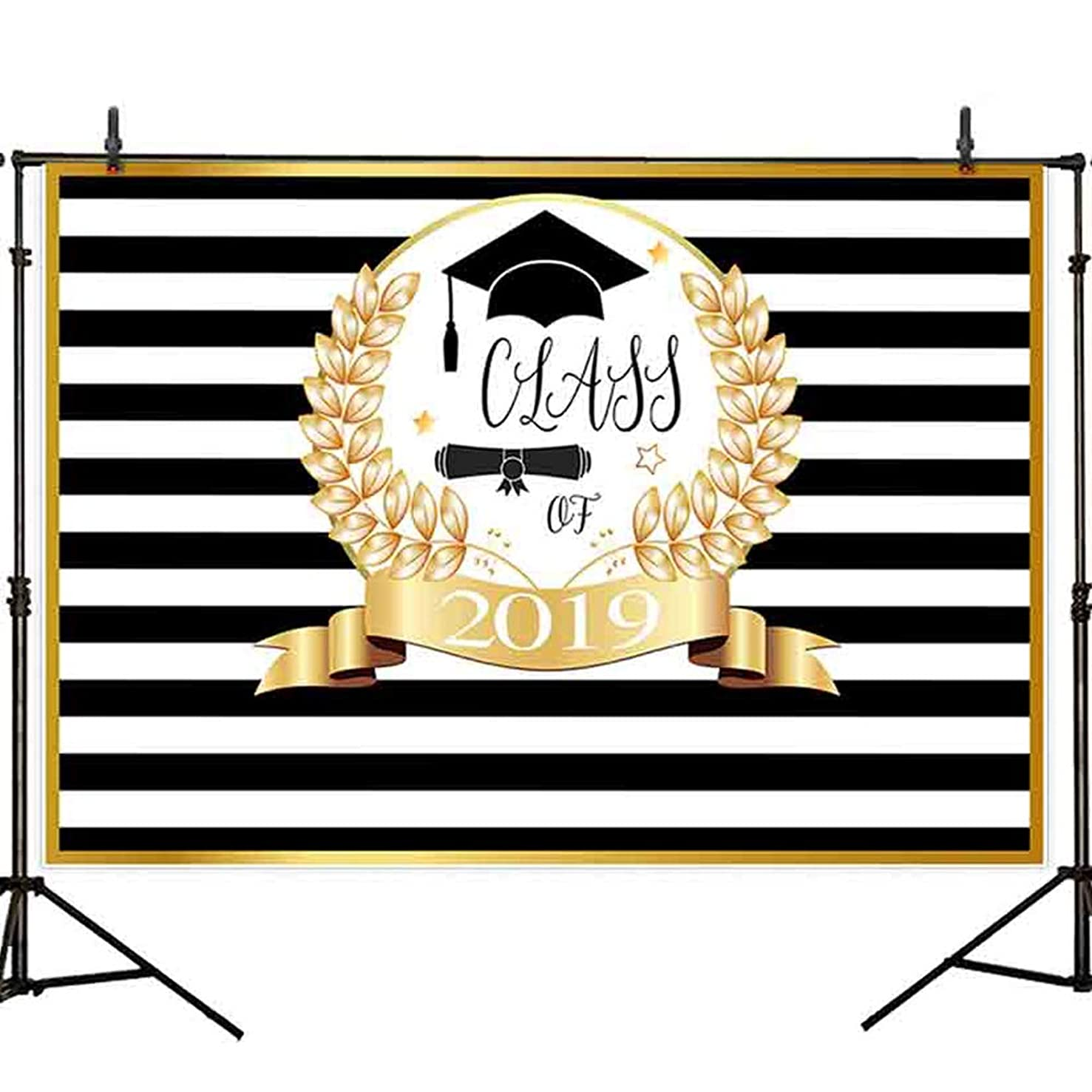 Allenjoy 8x6ft Durable Fabric Golden Prom Class of 2019 Photography Backdrop Background Black and White Stripes Golden Ivy Photograph for Graduation Party Decorations Cake Table Banner