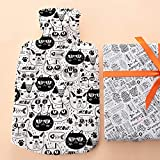 Hot Water Bottle with Soft Fleece Cover as a Great Gift Idea with Cute Cats Design. Basic Thermotherapy Way...