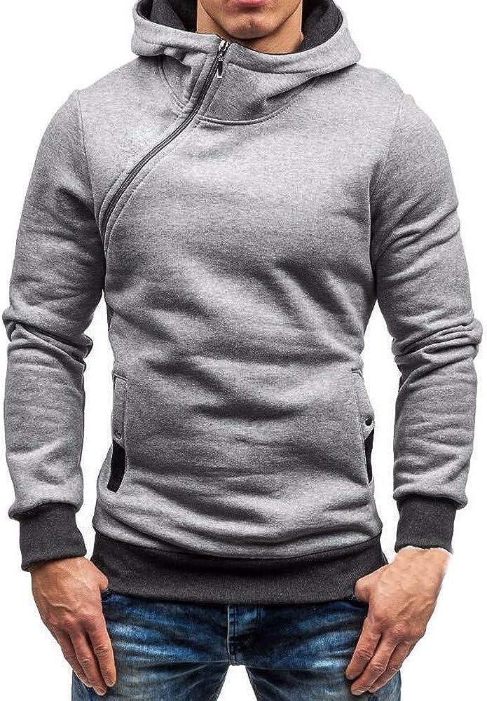 Misaky Hoodies for Men Autumn Winter Solid Color Side Zip Pocket Long Sleeve Pullover Hoodie Sweatshirt Tops