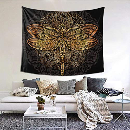 ZVEZVI Bellamente Dorado Adornado estilizado libélula en Mandala Tapiz Arte de Pared para Sala de Estar Dormitorio decoración de Dormitorio 60 × 51