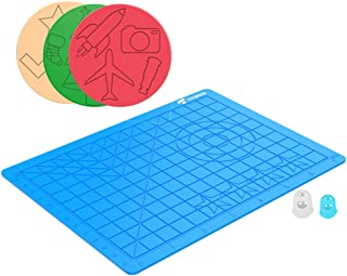 TECBOSS 3D Pen Mat, 3D Printing Pen Pad Silicone Design Mat Large Basic Template with 3 Packs Patterns Mat 2 Finger Protectors, Compatible with All 3D Pen, Best Tools for 3D Beginners/Kids