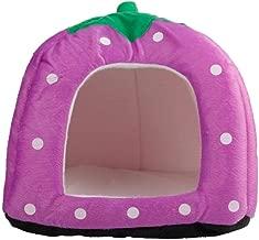 dalilylime Multi-Purpose Pet Teepee,Pets Dog Cat House Nest Yurt, Soft Cotton Cute Strawberry Style,Size S (Purple)