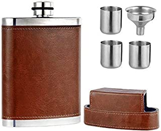 leather wrapped glass flask