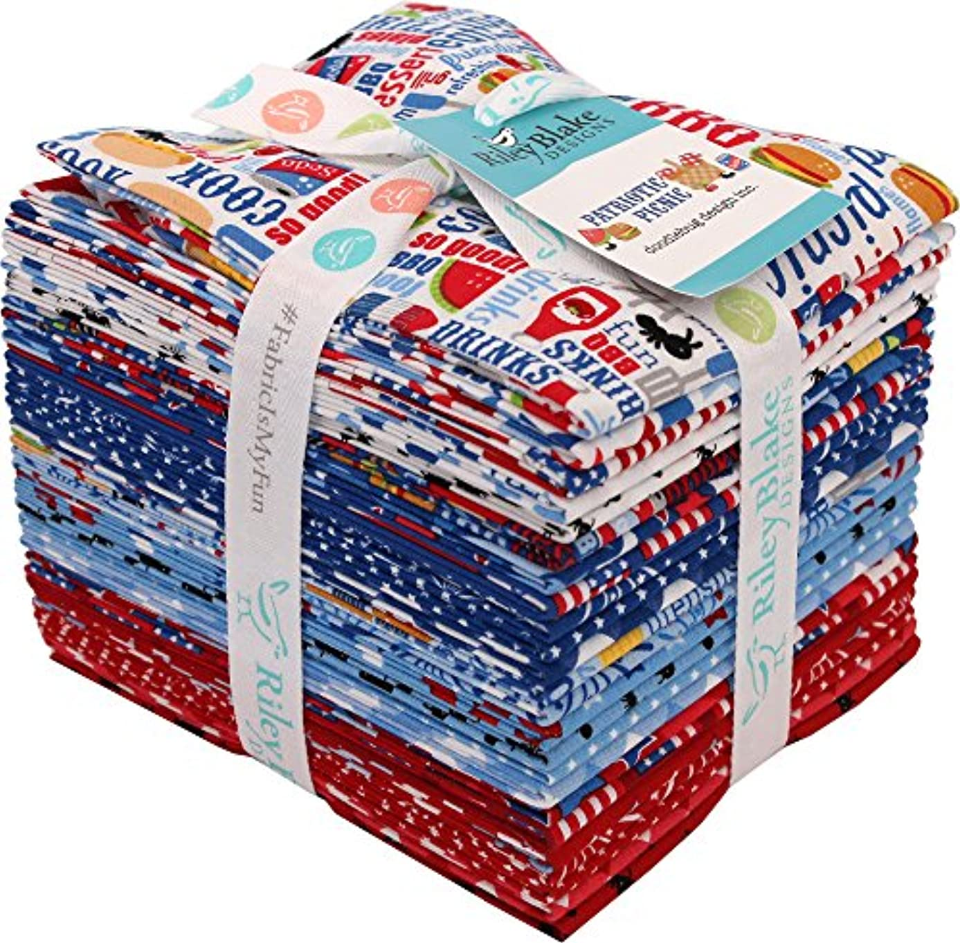 Doodlebug Design Patriotic Picnic 24 Fat Quarters Riley Blake Designs FQ-8000-24 jrdv4608418