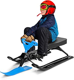 Costzon Snow Racer Sled, Ski Sled with Steering Wheel and Twin Brakes, Durable Steel Frame, Classic Downhill Steerable Sled for Kids Teenagers