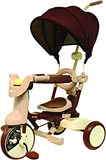 iimo #02 Type SS Tricycle | Foldable Push Walker Car Ride On Trike| Removable Canopy| Baby Kids Aged 1.5 to 5 Years Old| Comfort Brown