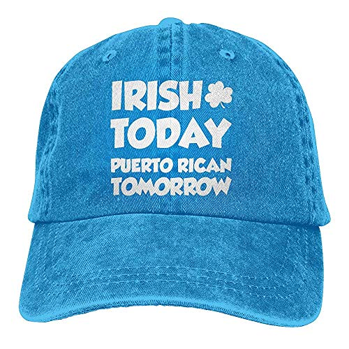 ulxjll Cap Unisex Irish Today Puertorican Morgen auf dunklem Vintage Denim Einstellbare Chic Dad Hats Baseball Cap
