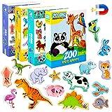 MAGDUM Imanes nevera niños Granja+Zoo+Marinos+Dinosaurios- 71 Grandes imanes bebes - Montessori bebe - Animales de juguete - Juguetes bebes - Juegos educativos niños - Nevera juguete - Iman de nevera