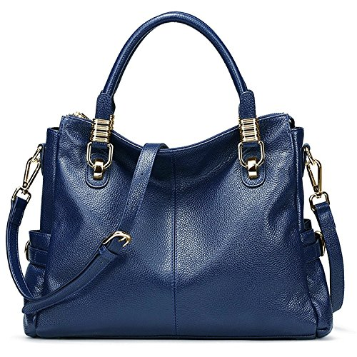 Big Sale-AINIMOER Womens Soft Vintage Genuine Leather Tote Shoulder Bag Top-Handle Crossbody Handbags Ladies' Messenger Purse(Blue)
