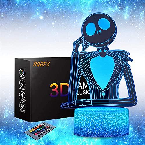 Lámpara de ilusión 3D Jack Skellington Luz de noche para niños con 16 colores que cambian para decoración del hogar/oficina, lámpara de escritorio táctil, juguetes y regalos para niños