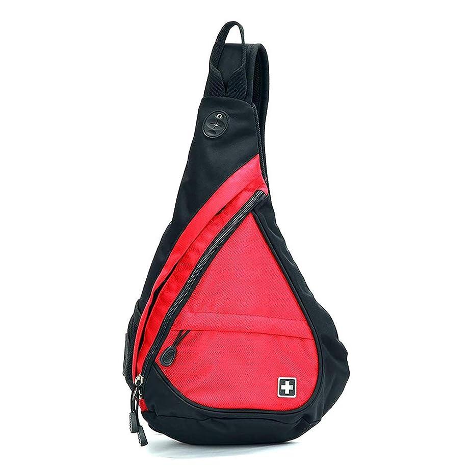 スタッフバッジ従順SWISSWIN ボディバッグ メンズ レディース アウトドア 軽量 斜め掛け ワンショルダーバッグ ファスナーポケット 黒 赤 青 (RED)