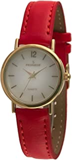 Women's Classic 14K Plated Round Case Everyday Leather Band Dress Watch