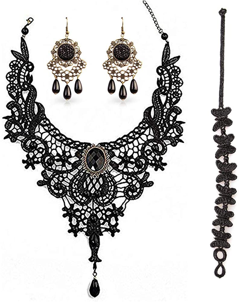 Black Lace Necklace and Earrings Set,BagTu Gothic Lolita Black Pendant Choker for a Halloween Costume and Wedding (Black)
