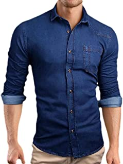 Macondoo Mens Lapel Neck Denim Business Curved Hem Button Down Shirts with Pocket