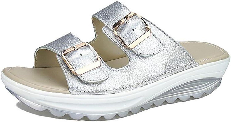 Women's Beach Flip Flop Genuine Leather Low Heel Sandals,Sliver,39