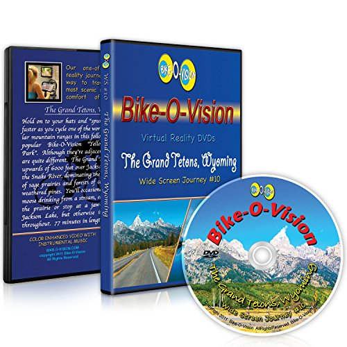 Bike-O-Vision - Virtual Cycling Adventure - The Grand Tetons, Wyoming - Perfect for Indoor Cycling and Treadmill Workouts - Cardio Fitness Scenery Video (Widescreen DVD #10)