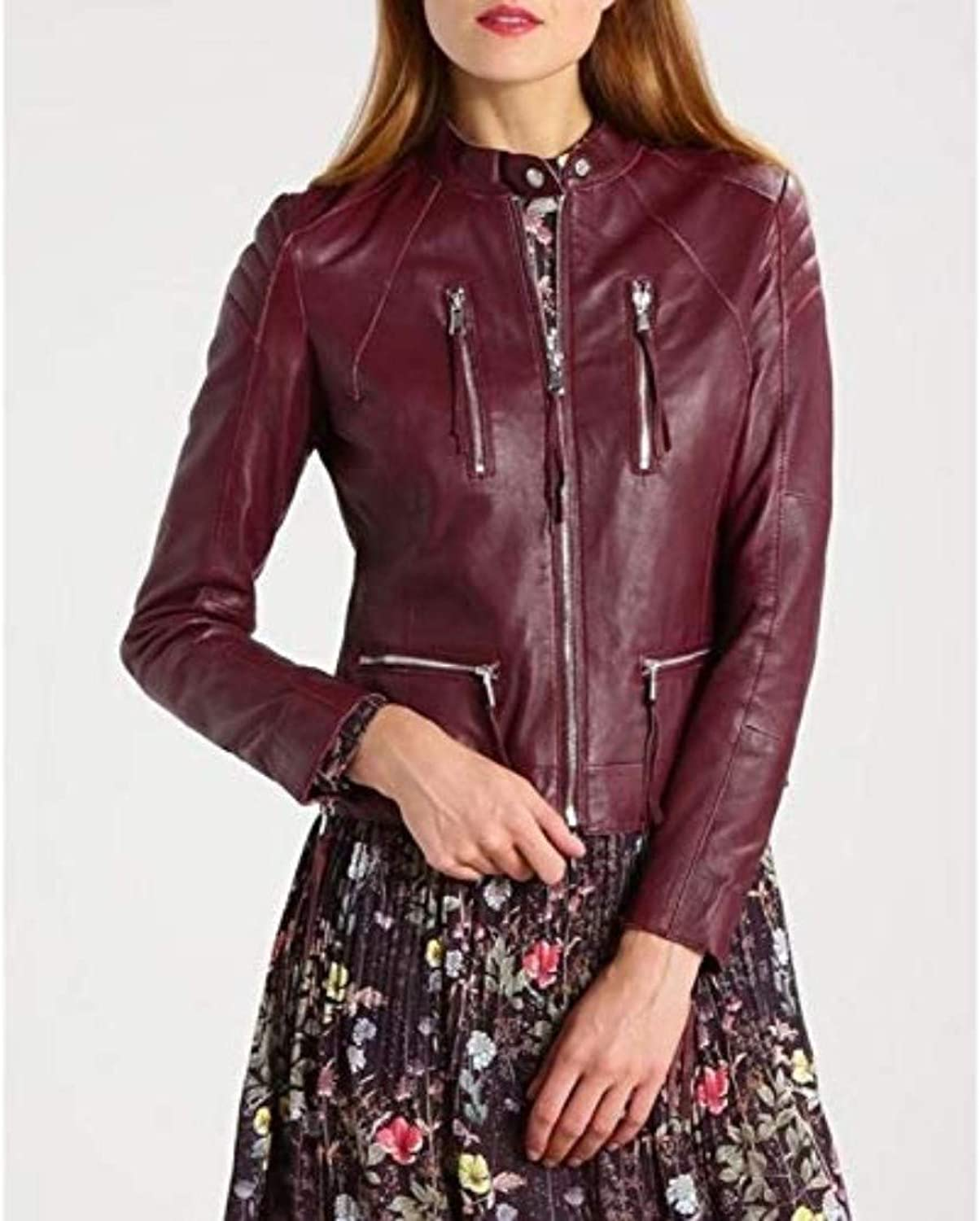 New Fashion Style Women's Leather Jackets Maroon C35_