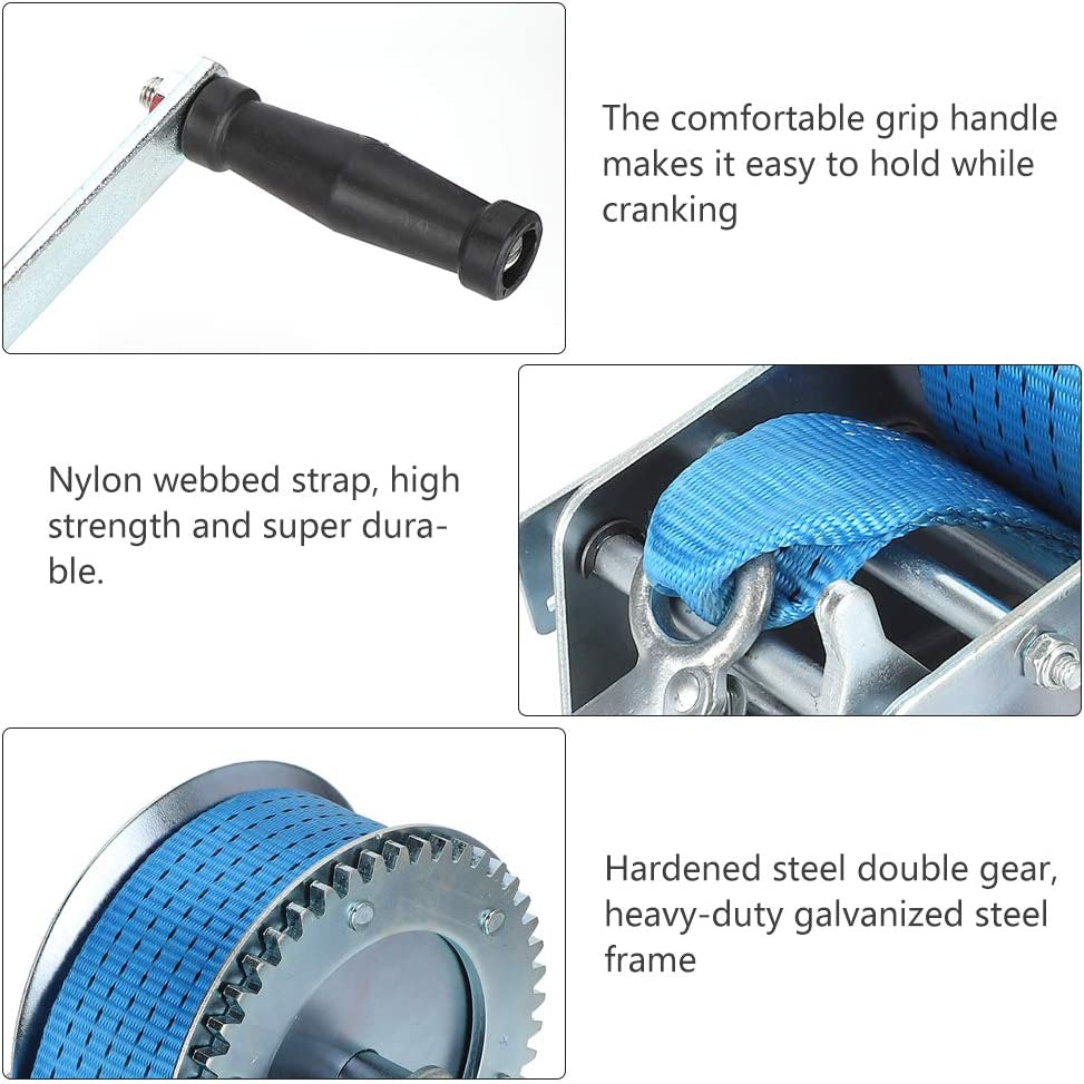 Blue Strong Hand Crank Winch W/32.8ft Belt & 3500 Pounds Load ...