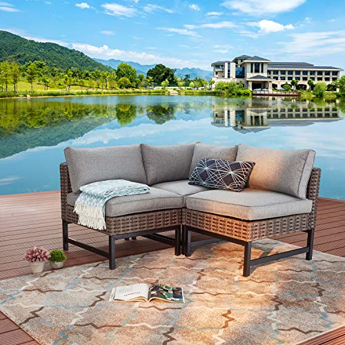 Festival Depot 3 Pieces Patio Sectional Corner Sofa Set Outdoor All-Weather Wicker Metal Chairs with Seating Back Cushions Garden Poolside (Gray)