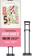 Foam Board Store Sign Holders, Double Pole Support Poster Stand, Stable Pedestal Adjustable Height Sign Stand Black