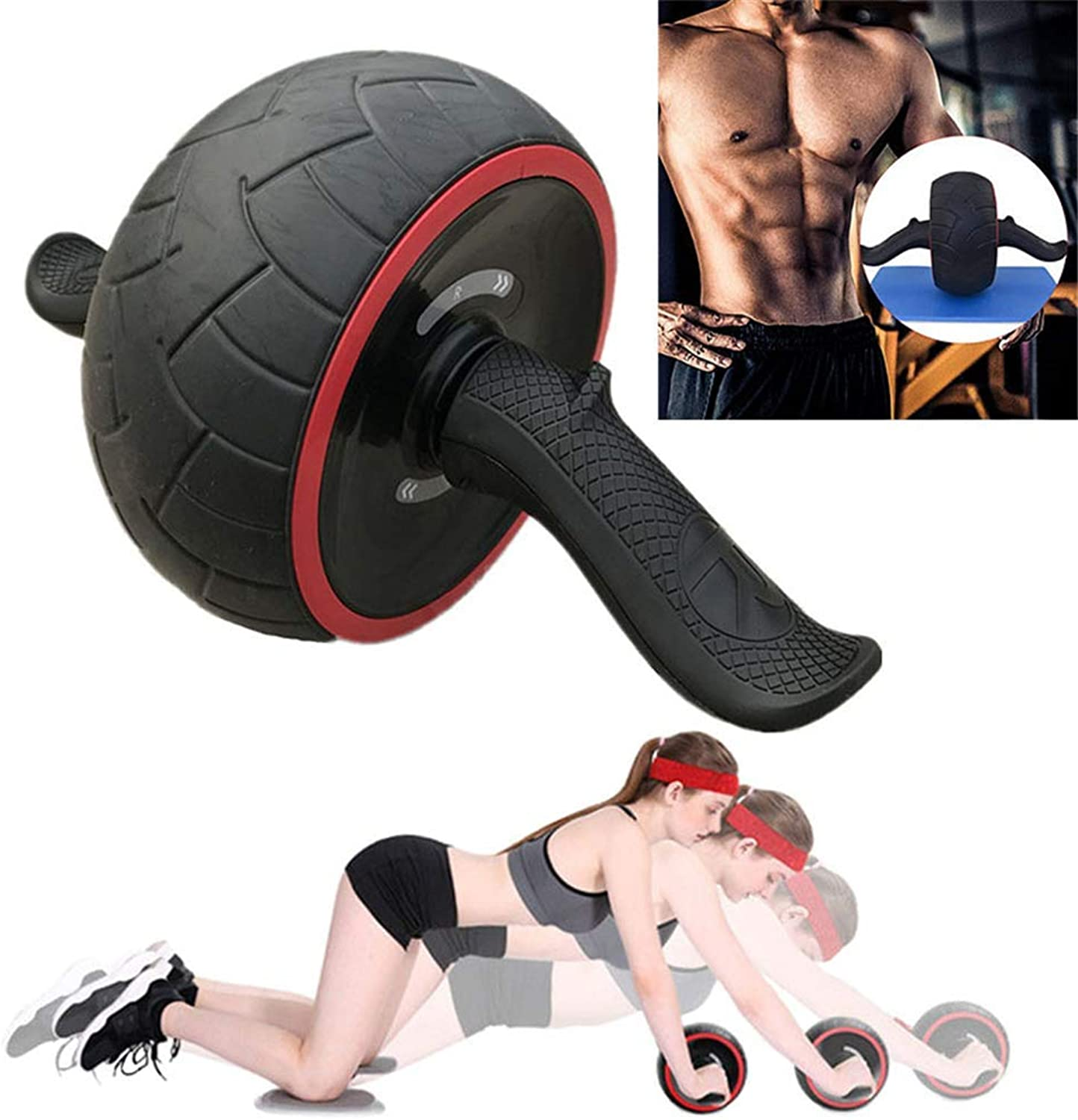 Ab Roller Wheel Trainer Pro Core Abdominal Exercise Training Fitness Equipment with Easy Grips Handles for Man Woman Gymnastics Home Gym
