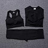 B/H Leggings Yoga Set Chandal,Traje de Yoga sin Costuras de 3 Piezas para Mujer, Conjuntos de Entrenamiento, Mallas de Yoga con Ropa Deportiva elástica para Gimnasia-Black_L