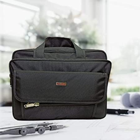 GOLDLINE Multipurpose Tool Bag for Mechanics, Electrician & Technicians/Polyester Messenger Bag with 6 Pockets & Compartments, 35L Capacity, Waterproof Cardboard Support Bottom(43 x 25 x 32 cm, Black)