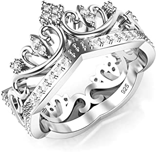 925 Sterling Silver Cubic Zirconia Princess Crown CZ Band Ring