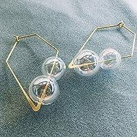 オリジナルファンシー手吹きバブルフープ女性ヴィンテージのためのユニークなカラフルなガラスボールイヤリングクリア韓国イヤリング 2020