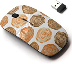 2.4G Wireless Mouse with Cute Pattern Design for All Laptops and Desktops with Nano Receiver - Stylized Orange Beige