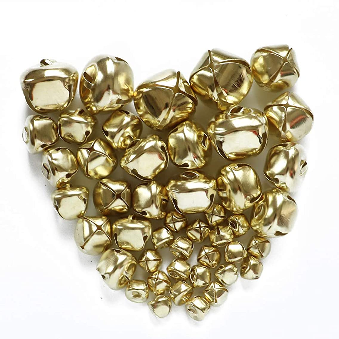 YEJI 200pcs Gold Multi-sized Christmas Bells Iron Loose metal Beads Jingle Bells Christmas Decoration Pendants DIY Crafts Handmade Accessories