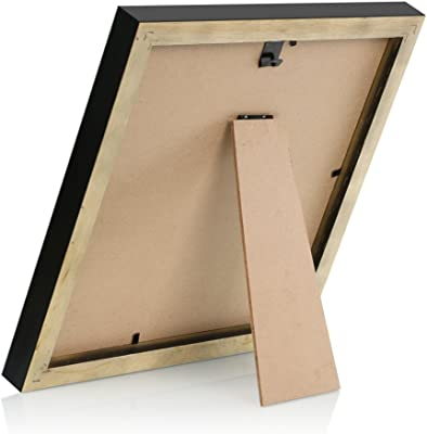 8x8 Black Picture Frames Holds 6x6 Wooden Square Photo Frame with Mat for Wall Hanging or Table Top